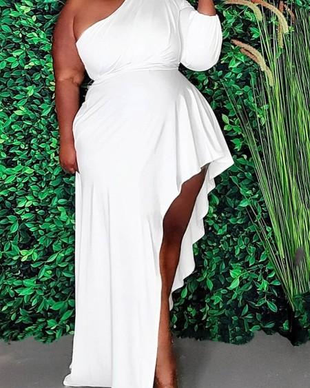 Solid Color One Shoulder Asymmetrical Maxi Dress