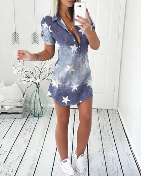 Star Print Colorblock Denim Shirt Dress