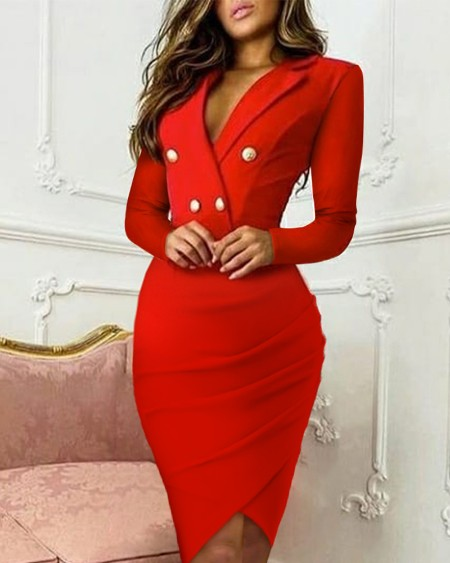 Asymmetrical Hem Double Breasted Blazer Dress