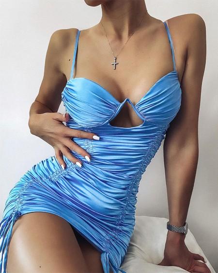 Solid Strap Cut-out Slim Bodycon Mini Dress