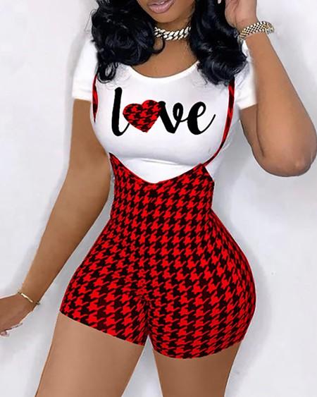 Letter Heart Print Top & Houndstooth Print Suspender Shorts Set
