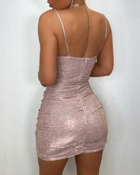 Solid Glitter Spaghetti Strap Ruched Bodycon Dress