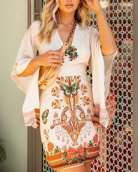 Butterfly Floral Print Bell Sleeve Dress