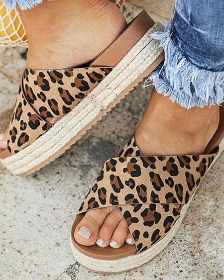 Crisscross Design Espadrille Platform Sandals