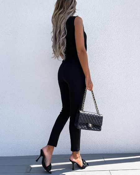Solid Color Lace-up Sleeveless Commute Jumpsuits