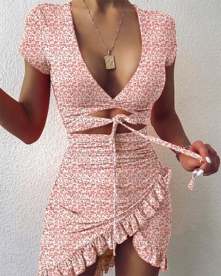 Floral Print Cutout Ruffles Ruched Dress