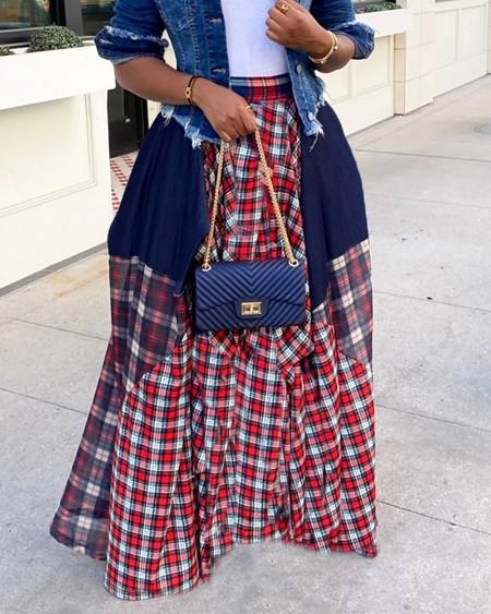 Plaid Colorblock Pleated Maxi Skirt