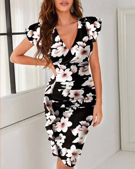 Floral Print V-Neck Pleated Slit Dress