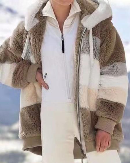 Mens Fashion Colorful Stripes Print Long Sleeve Zip Up Hoodie Coat