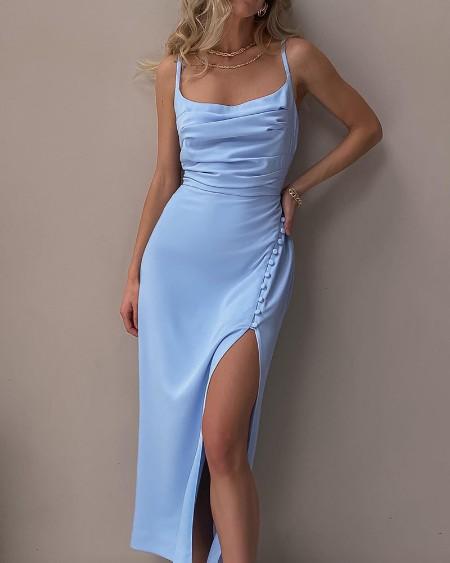 Satin Button Decor High Slit Evening Dress