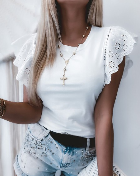 Eyelet Embroidery Short Sleeve Casual T-shirt