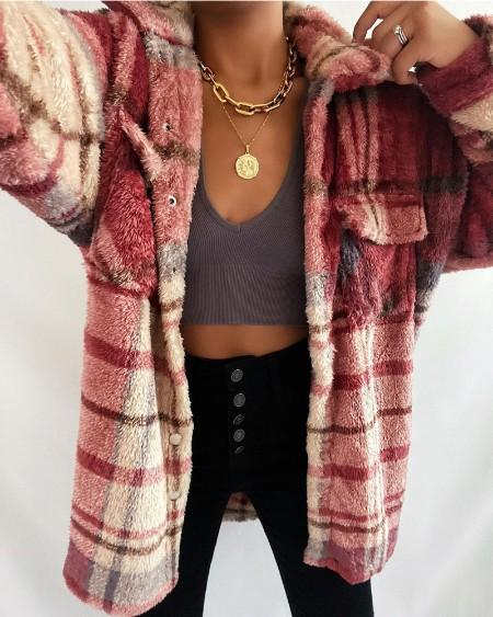 Plaid Print Long Sleeve Flap Pocket Teddy Coat