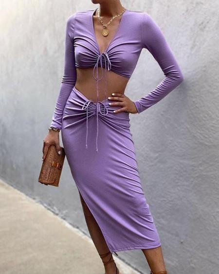 V-Neck Long Sleeve Drawstring Crop Top & Slit Midi Skirt Set