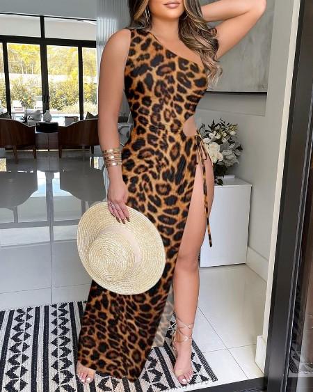 One Shoulder High Slit Cutout Cheetah Print Dress