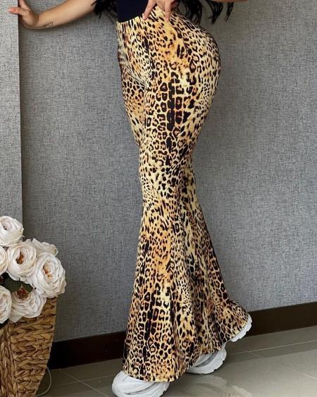 High Waist Cheetah Print Bootcut Pants