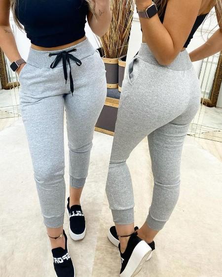 Drawstring Wide Waistband Pocket Design Sweatspants