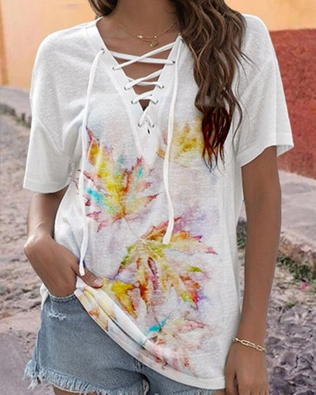 Maple Leaf Print Lace-up Short Sleeve T-shirt