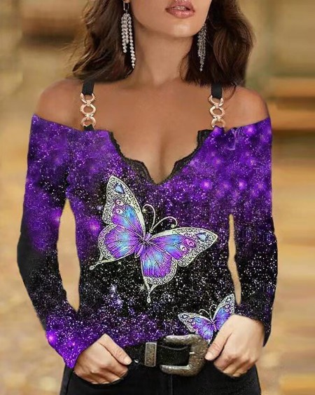 Chain Strap Butterfly Print Cold Shoulder Long Sleeve Top Skinny Blouse