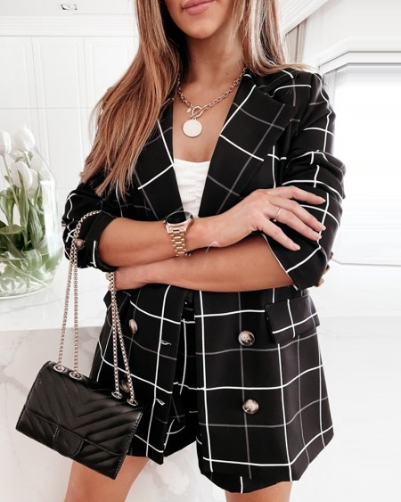 Conjunto de blazer e casaco com estampa xadrez com botões de bolso