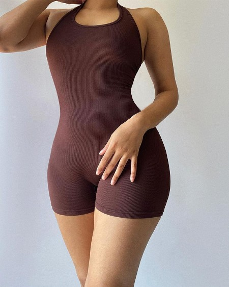 Solid Color Sleeveless Halter Unitard Rompers