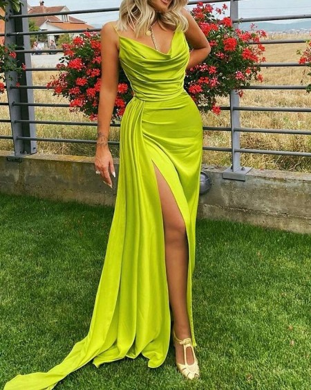 Cowl Neck Split Thigh Cami Maxi Dress