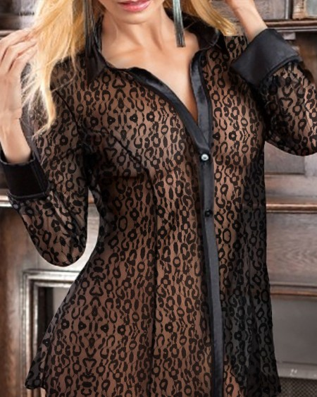 Leopard Print See Through Mesh Button Front Babydoll