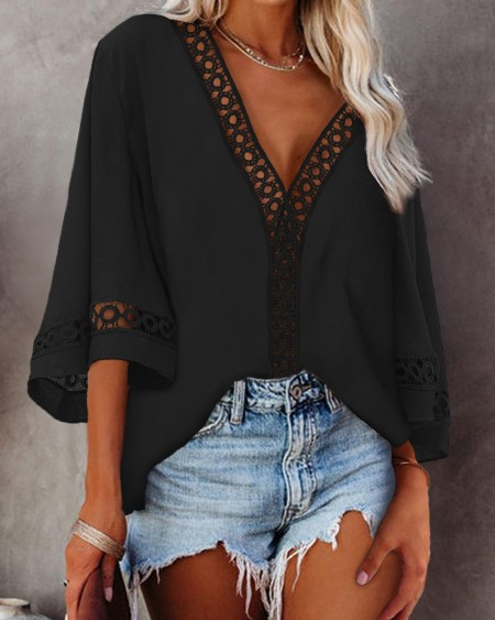 Hollow-out Bell Sleeve V-Neck Top