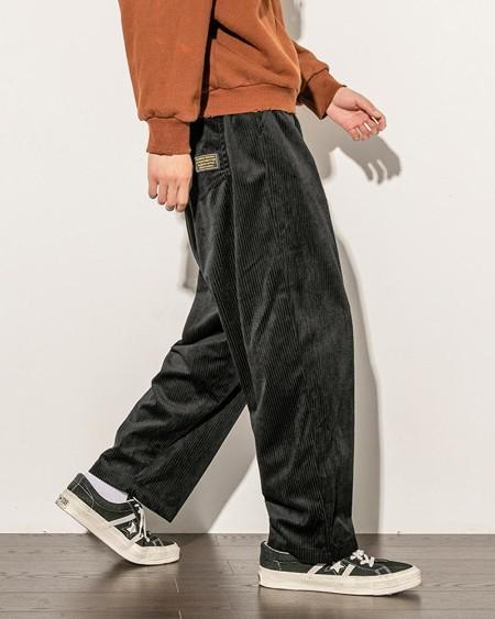 Solid Straight Corduroy Loose Pants