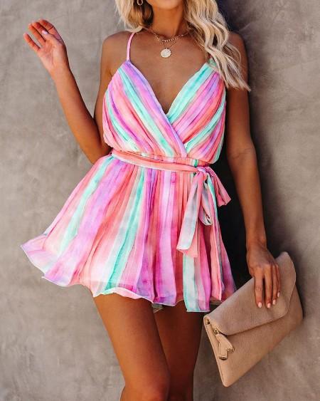 Rainbow Color Cami Mini Dress