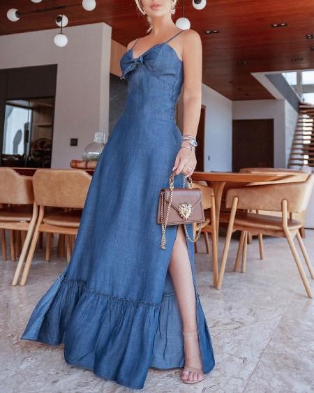 Blue Split Cami Denim Maxi Dress