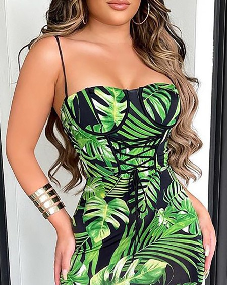 Spaghetti Strap Lace-up Front Tropical Print Dress