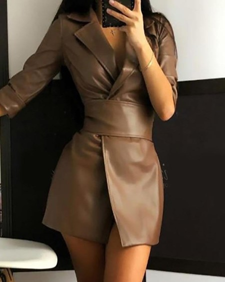 Plain Long Sleeve PU Leather Blazer Women Dress
