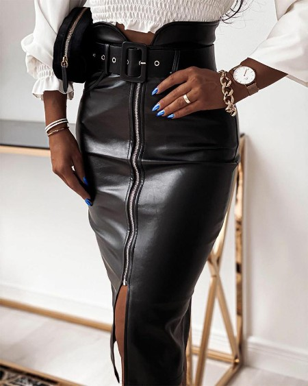 Solid Zipper Skinny PU Skirts With Belt
