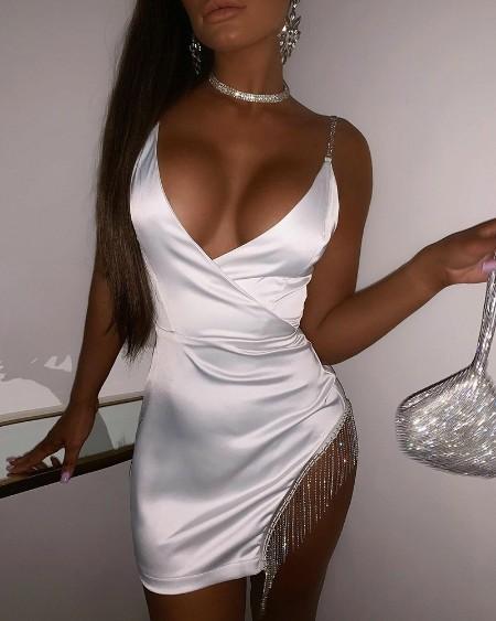 Solid V-Neck Studded Linked Fringe Side Satin Mini Dress