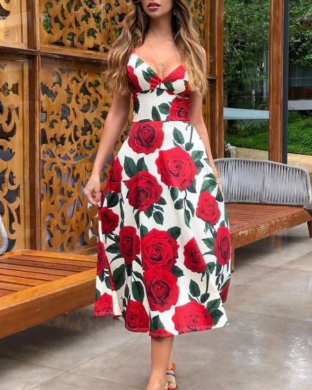 Floral Print V-Neck Sleeveless Dress