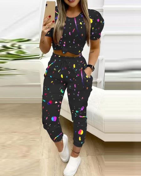 Colorblock Puff Sleeve Crop Top & Pocket Design Drawstring Pants Set