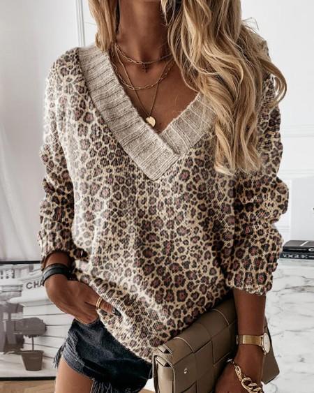 Leopard Print Long Sleeve V-Neck Sweater