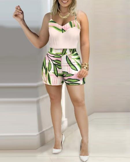 Spaghetti Strap Plain Top & Tropical Print Shorts Sets