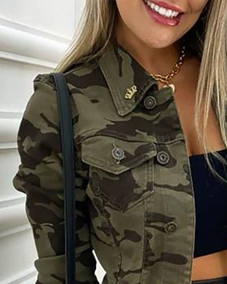 Camouflage Print Buttoned Pocket Design Coat Casual  Turn-down Collar Long Sleeve Jacket