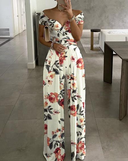 Floral Print Short Sleeve Wide Leg Jumpsuit