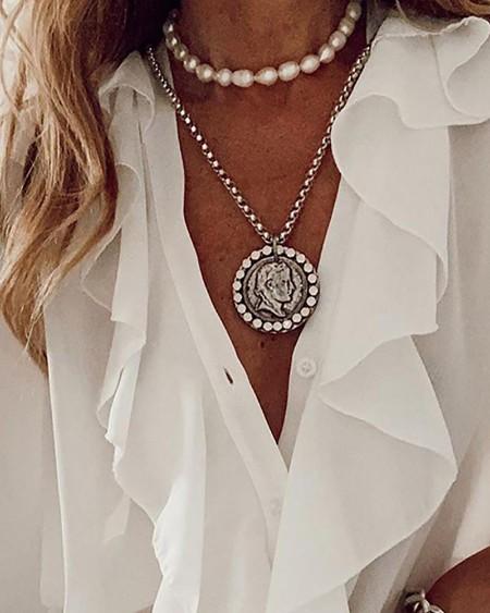 Women's Ruffles Button Design Long Sleeve Top