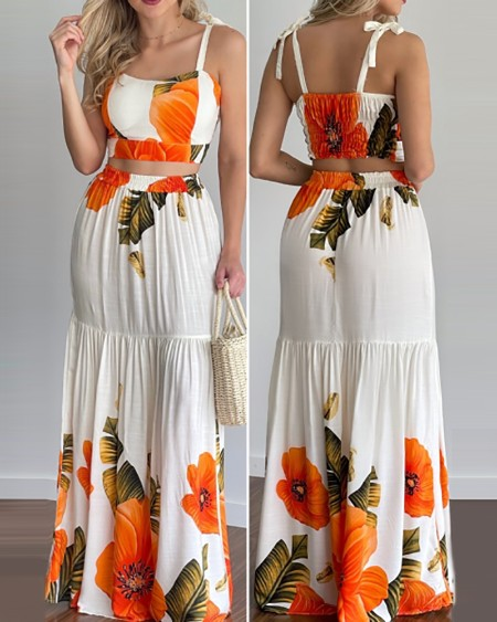 Floral Print Tied Detail Top & Maxi Skirt Set