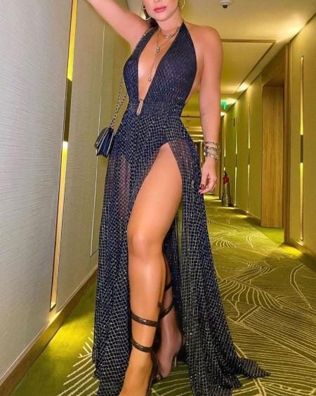 Argyle Print Halter Split Thigh Prom Maxi Dress