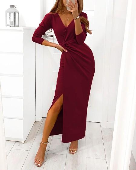 Long Sleeve Twist Split Party Dress