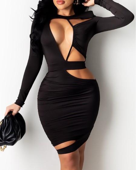 Cutout Ruched Asymmetrical Bodycon Dress