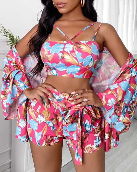 Spaghetti Strap Floral Print Knotted Tankini Sets With Cover Up