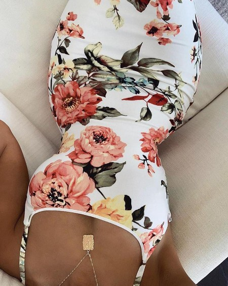Floral Print Bodycon Cami Dress