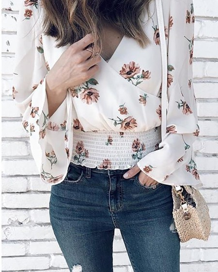 Floral Flared Sleeve Shirring Wrap Blouse