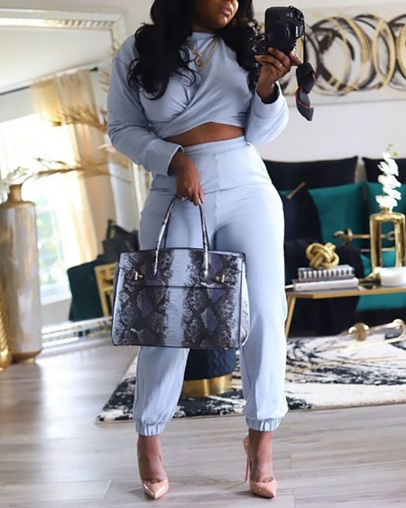 Plus Size Wrap Crop Top & High Waist Pants Set