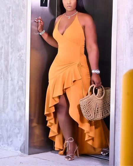 Solid Color Ruffle Hem  Halter Sleeveless Asymmetrical Dress